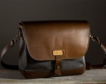 OLD DESIGN (Never been Used) Classic Laptop Messenger Bag - Charcoal/Whiskey