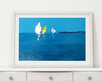 Sailboats Painting Ocean Painting Abstract Oil Painting Sailing Decor Ocean Art Sea Painting Beach Home Decor Christmas Gifts for Men Ideas