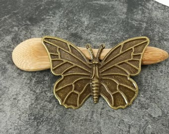Large Butterfly Deco, vintage, brass colored Butterfly print Butterfly bronze 60 x 40 mm