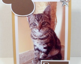 Personalized 5x7 Cat Picture Frame - Acrylic 5x7 frame to house 4x6 or 5x7 photo - Horizontal or Vertical - ANY COLORS You Specify