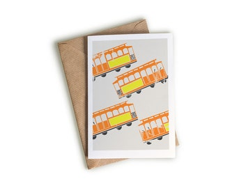 Streetcar Art Card, A6 Size, Transport Themed Artwork, Orange and Yellow, Bright Note Card, Illustrated Greeting Card, Blank, Retro Style