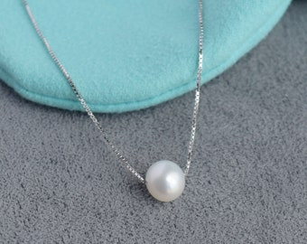 Single Pearl Necklace || Freshwater Pearl Necklace || Classic Floating Pearl || Pearl Choker || Bridesmaid Necklace || Necklace for Mom