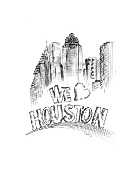 Houston Skyline Drawing - We Heart Houston, 6x8, 8x10, 9x12, 11x14, Downtown Houston Art Illustration, Black Line Drawing