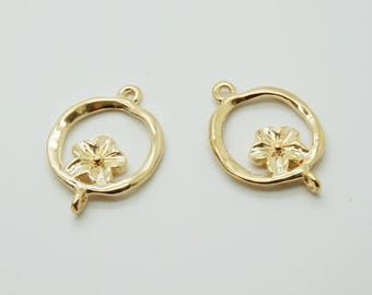 charm flower in circle connector gold plated (S39)