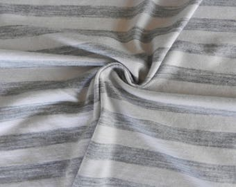 100% New Zealand merino wool jersey knit fabric by the yard metre Cream White  Black Charcoal Gray Grey Stripes Blue More colors available