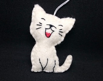 Happy Cat ornament - handmande felt home decoration for kids room Baby shower nursery decor Christmas ornament for cat lover gift idea