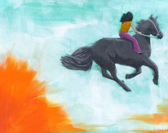Rise Above - Giclee print of an original painting art reproduction girl and horse nursery art decor poster