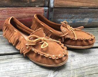 MINNETONKA Vintage Brown Suede Leather Fringe Loafers Moccasins Women's 6B