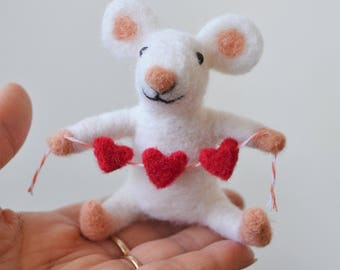Mouse valentine, needle felted animal, heart garland