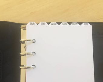 Personal Top Tab Monthly Dividers with Printed Tabs for Filofax, Kikki K, Debden - 6 Ring Personal Binders/Planners/Diaries - Jan to Dec