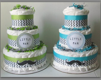 Little Man Diaper Cake, Mustache Baby Shower , Mustache Party , Baby Shower Decorations