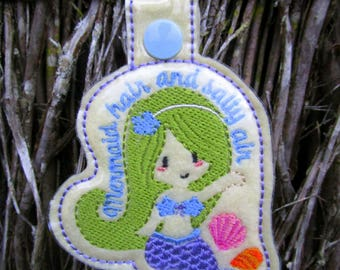 In The Hoop Mermaid Mermaid hair and salty air keyfob bag tag machine embroidery  (5x7) Instant digital download