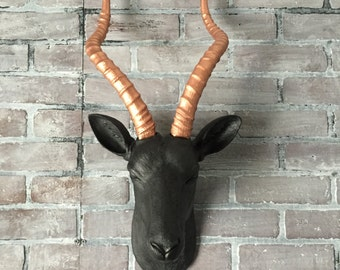 ANY COLOR Large Gazelle Head Wall Mount // Faux Taxidermy // Fake Animal Head // Antelope Antler // African Decor // Safari Nursery // Horns