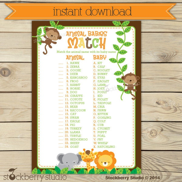Free Printables Baby Shower Games: Safari Baby Shower Animal Match Game Printable Instant