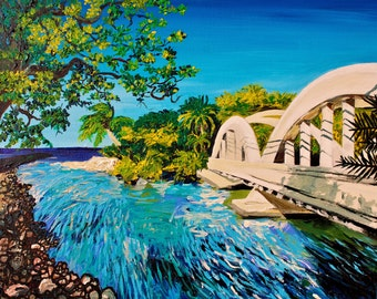 "Haleiwa bridge archival giclee print on stretched canvas. many sizes starting at 8""x10""x1"". looks just like the painti ngReady to hang"