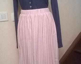Mid long skirt color crinkle chiffon rose