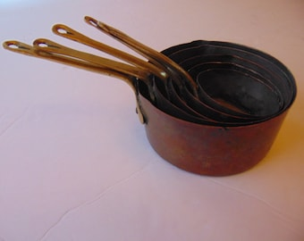 Vintage Charming 5pc.Copper Measuring cups 1/4 thru 1 cup brass and copper,metal
