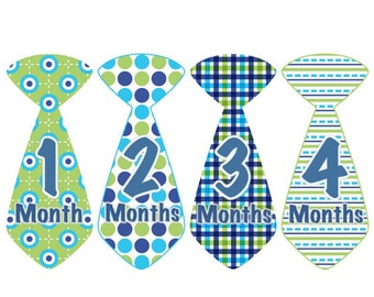 Monthly Baby Stickers INSTANT DOWNLOAD Baby Month Stickers Boy Blue Green Tie Stickers Monthly Stickers Baby Shower Gift Photo Prop Edward