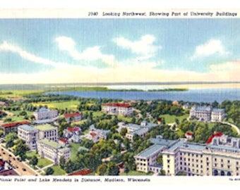 Madison Wisconsin 1938 University Postcard Lake Mendota and Picnic Point