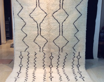 """Beni Ourain Rug Handmade  hand knotted 100% Natural Wool, 7'9"""" x 5'6"""" / 236 cm x 168 cm Berber Beauty, area rug"""