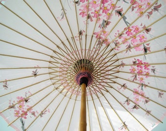 Vintage Asian parasol/ fabric boho umbrella accent/Chinoiserie