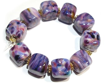 SRA Handmade Glass Lampwork Beads, Purple Leopard Cubes