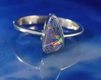 Black Opal Ring - 14k Gold Jewelry - Solid stone
