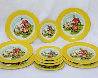 Vintage Metal Play Dishes Little Bo Peep 11 Pieces Plates & Saucers