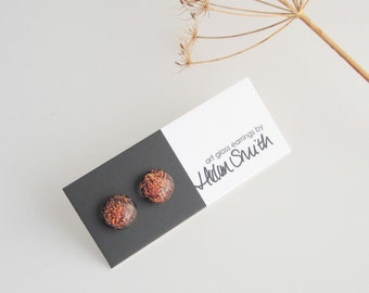 Glass stud earrings, sparkly rust red fused glass and sterling silver earrings