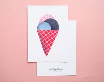 Postcard Ice Cream A6 Illustration