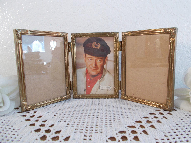 Vintage Metal oro adornado con bisagras cuadro marco 3 foto ...