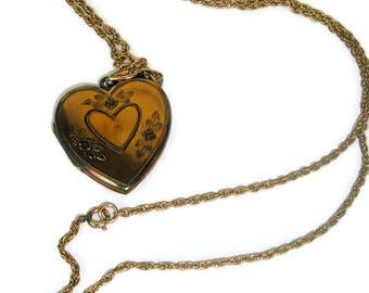Vintage Locket Necklace,GF Heart Locket, Photo locket, Etched Locket, floral heart locket,gift for her,Victorian Inspired,Blond Hair Locket