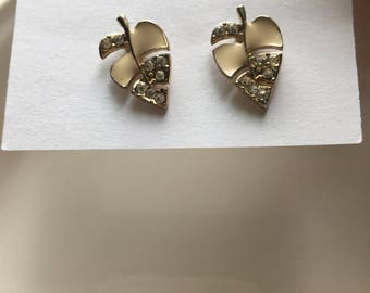 Vintage Leaf Enamel & Stone Stud Earrings