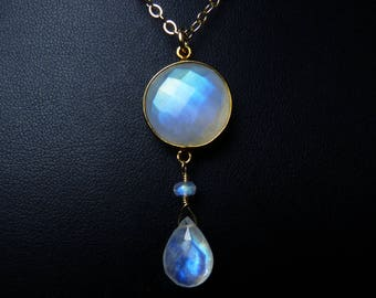 Faceted Rainbow Moonstone and Gold Necklace, Faceted Rainbow Moonstone Pendant, Glowing Cobalt Blue, Sky Blue, & Turquoise Fire, Gold Bezel
