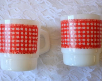 Vintage Fire King Mug, Vintage Anchor Hocking Mug, Red Plaid Mug