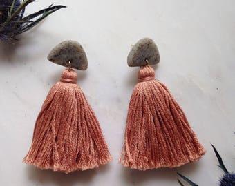 Dusty Rose Half-moon Tassel Earrings
