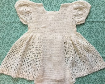 VINTAGE White Baby/Doll *6-9 Mos* Full Skirted Puffed Sleeve Crochet Dress