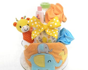 Safari Baby Diaper Cake, Baby Shower Centerpiece and Gift