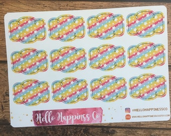 Rainbow Framed Half Boxes - Planner Stickers - Functional Stickers