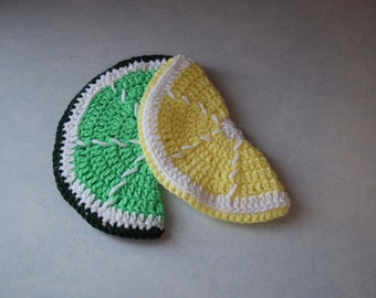 lemon and lime pot holders//crochet pot holders//yellow//green//10 inches