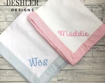 Seersucker baby blanket, Monogram baby blanket, baby blanket with name, personalized baby blanket, embroidered baby blanket, monogram baby