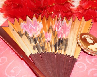 Golden Silk and Bamboo Hand Held Fan with pink and White Flowers Hand Painted