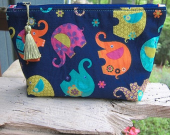 Zippered Pouch | Makeup Bag | Lined Zipper Bag | Cute Floral Elephant Fabric | Colorful Elephant Fabric Makeup Bag | Small Gift Under 20