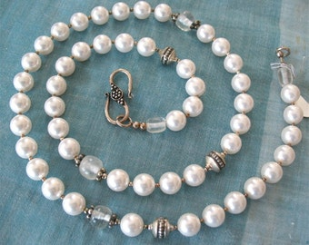 Pearls   Long Strand with sterling silver and quartz crystal