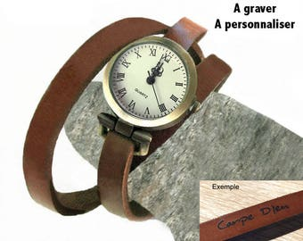 Sober Brown Leather Bracelet Watch, Women's Leather Personalize, Mother's Day Gift