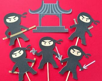Ninja cupcake toppers,12  Ninja toppers, Superhero cupcake toppers, superhero ninja toppers, Ninja party theme, Ninja party