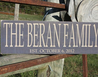 Personalized family sign. Family name sign.  Established sign.