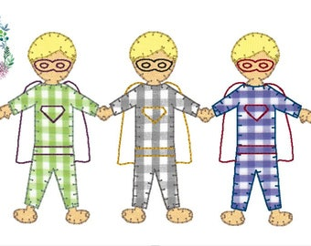 superhero boy blanket stitch with vintage stitch detail design file for embroidery in 5x7