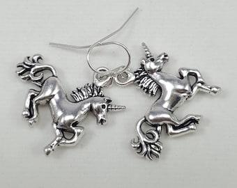 Silver Unicorn Earrings, Unicorn Jewelry