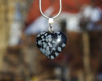 Snowflake Obsidian Stone Heart Pendant on a Sterling Silver Chain ~ Black and White Necklace ~ Winter Jewellery ~ Healing Crystal ~ OOAK